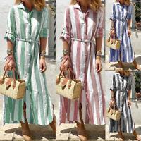 UK 8-24 Womens Striped V Neck Dress Vintage Long Sleeve Party Evening Dresses