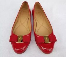 5f3d33435867 Salvatore Ferragamo Red Patent Leather Varina Bow Flats slip on shoes Size  7 M