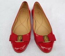 f13f8ac32da6 Salvatore Ferragamo Red Patent Leather Varina Bow Flats slip on shoes Size  7 M