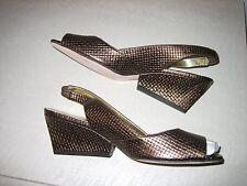 Martinez Valero woven bronze leather contoured wedge - New never been worn