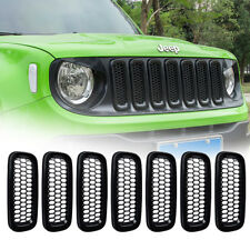 7 Matte Black Front Grill Guard Grille Insert Cover Trim For Jeep Renegade 15-17
