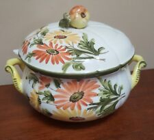 Vintage Hand Painted Soup Tureen Made in Italy Pear Wildflowers Limited Ed.