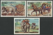 CAMBODGE Kampuchea N°519/521** Charettes à cheval..1984, CAMBODIA Sc#548-550 MNH