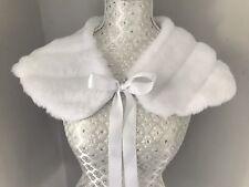 Lux MINK White Faux Fur Cape Shrug Stole Shawl Wrap Jacket Communion Flower Girl