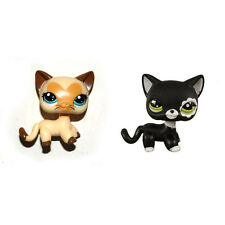Littlest Pet Shop Cream Yellow Short Hair & Black Blythe Cat Kitty Figure Toy