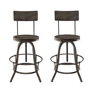 2pcs Industrial Country Farm House Bar Stool Chair, Black Metal Iron Wood, 4635