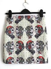 Vintage Gypsy Girl Tattoo Skull Skirt - Size 8 10 12 14 16  - Mini Bodycon Candy