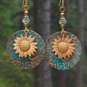 Sunflower Boho Turquoise Silver Earrings Hook Drop Dangle Sapphire Women Gift