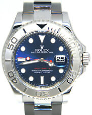 Rolex Yacht-Master Steel & Platinum Blue Dial Mens 40mm Watch Box/Papers 116622