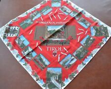 Vintage Souvenir Scarf with images from Austria Innsbruck Tirol red background