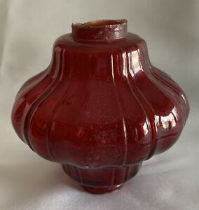 Chestnut Ruby Red Ribbed Glass Lightning Rod Globe Ball Original
