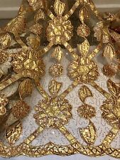 "GOLD MESH W/GOLD LAME EMBROIDERED LT BROWN SEQUINS LACE FABRIC 50"" WiIDE 1 YARD"