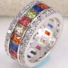 Fashion Jewelry 925 Silver Multi-Col.  Gemston Women Wedding Ring Size 6-10