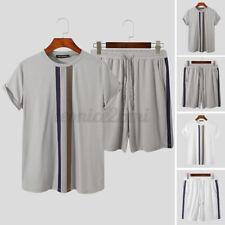 2PCS Men's Summer Top Shorts Short Sleeve Soft Nightwear Sleepwear Pyjamas Suits