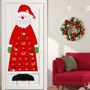 Large Felt Christmas Advent Calendar with Pockets Santa Snowman Xams Decoration