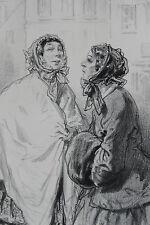 GAVARNI Lithographie originale série D'APRES NATURE deux femmes 1858