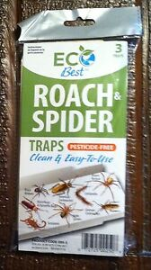 Roach Spider Insect glue traps w/attractant EcoBest pesticide free  3 traps