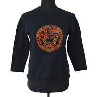 VERSACE Vintage Long Sleeve Tops Shirt Black #8 Authentic AK31553b