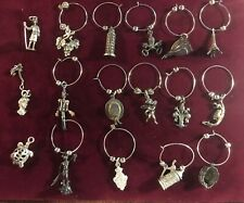 Set of 17 Sterling & 800 Silver Charms with Rings for Wine Glasses