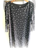 Wallis Black Polka Dot Oversized Jersey 3/4 Sleeve Tunic Dress Sz 14/42EU VGC