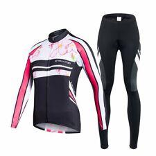 Ladies Long Sleeve + Cycling Shorts Jersey Set Winter Trousers Bike Wheel *New
