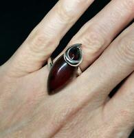 Ladies 925 Sterling Silver Large Cherry Baltic Amber Ring size O Jewellery