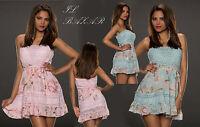 Vestito donna mini abito corto bandeau pizzo floreale fascia smanicato nuovo