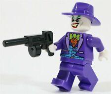 Lego Minifigure - Joker -Purple Fedora/Hat - BATMAN DC SUPERHEROES w/ Tommy Gun