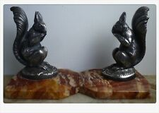 Antique pair French Art Deco Squirrels Silvered Bronze Bookends signed Frecourt