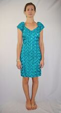 Vintage 80's ALYCE DESIGNS Turquoise Blue Sequin Party Cocktail Dress Size 6 USA