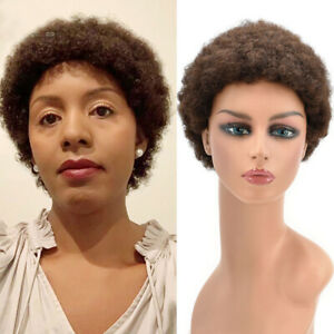 Kinky Curly Afro Wig for Black Women with Bangs Short Human Hair Brazilian US