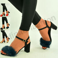 New Womens Fluffy Fur Sandals Ladies Mid Block Heel Peep Toe Casual Shoes Size