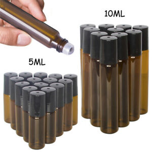 20pcs 5ml 10ml Amber Roll on Glass Bottles Essential Oil Metal Roller Ball Empty