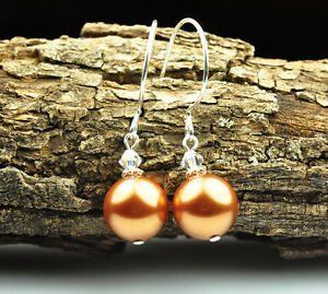 Copper made with Swarovski Element Crystal Pearl Earrings Sterling Silver Filled