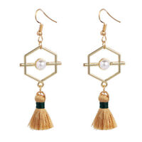 Fashion Exaggerated Big Geometry Simulation Pearl Long Tassel Drop Earrings W CQ