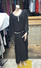 BNWT 14 Divine Ladies French Monk Style Sheer Black Dress Diamante Neckline+Belt