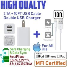 10ft Extra Long USB Power Cord Cable for iPhone 6S,SE,7,8+ Cube Wall Charger[M2