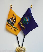 Gadsden & Kansas Double Friendship Table Flag Set