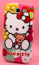 for samsung galaxy S3 case cute hello kitty kitten teddy bear bow colorful