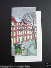 #E656- Unused Barbara MacNutt  Xmas Greeting Card Stagecoach & Horse in Town