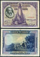 100 Pesetas año 1928 CERVANTES  SIN SERIE  MBC   - SPAIN Pick 76  VF