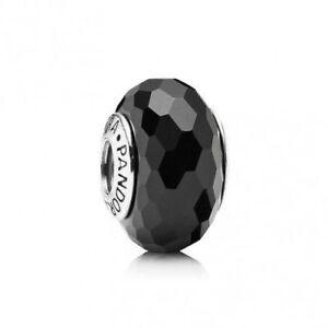 AUTHENTIC PANDORA CHARM GLASS MURANO FASCINATING BLACK  #791069 RETIRED