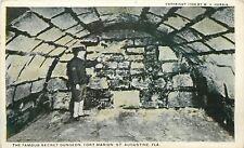 St Augustine FL~c1904~Soldier Displays Fort Marion's Secret Dungeon~1915 B&W PC