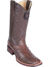 Los Altos BROWN Ostrich Square Toe TPU Rubber Sole Western Cowboy Boot D