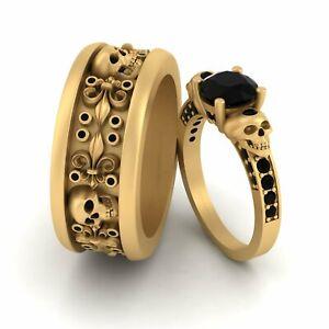 Fleur De Lis Black Diamond Matching Skull Engagement Ring Band Skull Couple Set
