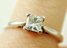 Diamond solitaire ring Princess cut 18 carat white gold 0.34 cts size L J colour