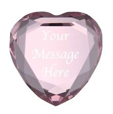 Personalised Engraved Crystal Pink Heart Glass Paperweight Wedding Anniversary