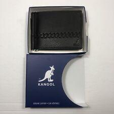 Kangol Dustin Slim Fold Wallet-Black Genuine Leather-Baseball Stitch-New