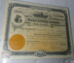Vintage Stock Certificate Dated 1902. Racine Knitting Co. Racine, Wisconsin