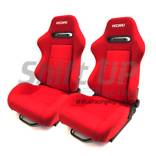 RECARO SR3/SRD RED PAIR Reclinable Racing Seats CLOTH Fabric BRIDE w/ Slider